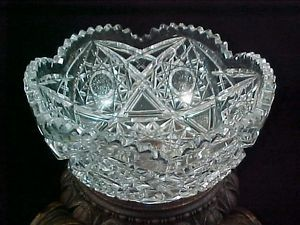 Antique abp American Brilliant Crystal Cut Glass Serving Bowl Higgins Seiter