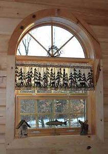 Moose and Bear Lodge Country Curtain Valance
