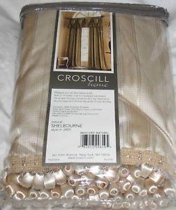 Croscill Hampton Valance Curtains Drapes Ivory Gold Stripe Tassel Shelbourne $90
