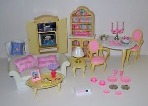 ... Barbie Living Room Dining Room Furniture Sets For Folding Pretty House  ...