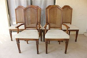 6 Stanley Furniture Cane Back Dining Room Chair Set
