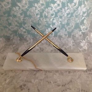 Vintage Cross Pen Pencil Executive Desk Set Marble Base 10 K Gold Filled USA