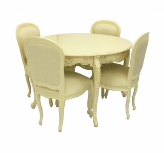 French Style Furniture Family Dining Room Table and 4 Chairs Designer Interiors