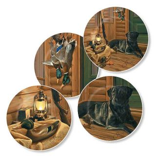 Scot Storm Bountiful Day Mini Plate Series with Display Rack Duck Hunting Dog