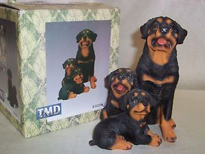 Collectible Dog Figurines Rottweilers Resin by TMD Designs