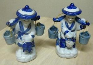 Chinese Porcelain Fisherman Figurines with Water Buckets Estate Sale