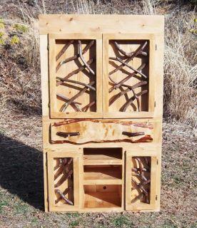 Rustic Pine Entertainment Center with Laurel Doors Log Home Cabin Furniture