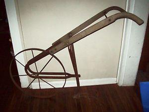 1830's Antique Steel Wheeled Garden Push Plow Cultivator Tool All Original