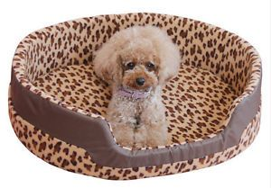New Pet Dog Puppy Cat Soft Bed House Plush Cozy Nest Mat Pad Leopard Print
