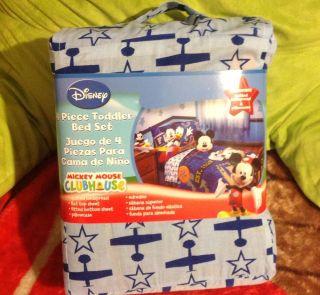 Disney Mickey Mouse 4 Pcs Toddler Bedding Set Kids Room Extra Sheet Set Baby