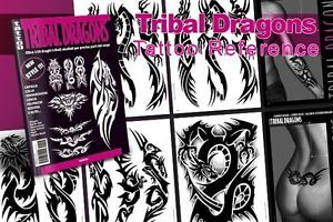 Tribal Dragon Tattoo Flash Design Book 64 Pages Cursive Writing Art Supply