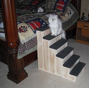 30 inch Wood Pet Steps Tall Bed Step Stain Choice