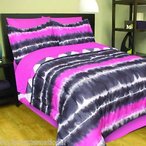 Al Bed in A Bag Comforter Bedding Set Pink Black Grey Gray White Tie Dye