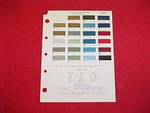 1969 Chevrolet Corvette GM Pontiac Interior Color Paint Chips Chart 69