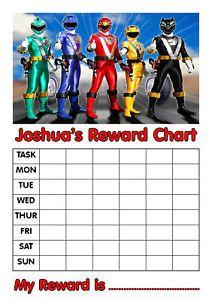 Personalised Power Rangers Reward Chart Stickers