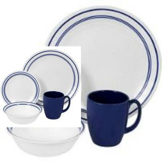 Corelle 16 Piece Dinnerware Set Service for 4 Classic Cafe Blue Dishes Dining
