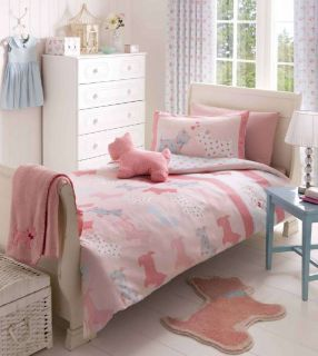 Girls Dog Pink Bedding Duvet or Tab Top Curtains or Fitted Sheet or Set