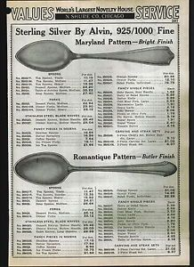 1939 Ad Alvin Sterling Silver Flatware Silverware Maryland Romantique Maytime