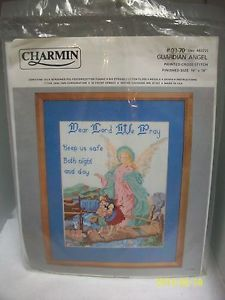"Janlynn Stamped Cross Stitch Kit ""Guardian Angel"" Religious 14x18 SEALED USA"