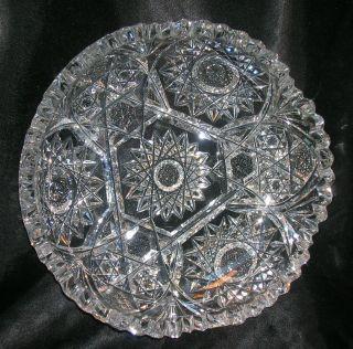 Abp Antique American Brilliant Crystal Cut Glass Bowl