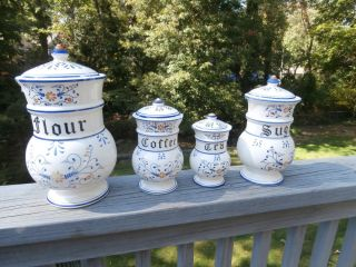 "Antique ""Heritage"" by Royal Sealy 4 Covered Spice Jars Tea Coffee Sugar Flour"