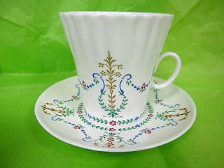 Vintage Lomonosov USSR Russian China 3 Cups Saucers Garland Pattern Blue Green