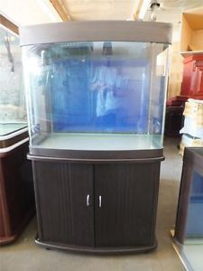 ... New 70 Gallon Bow Front Aquarium with Cabinet Light Canopy Filter ... & 72 Gallon Bow Front Aquarium Fish Tank with Light Hood and Stand Oak