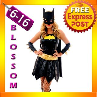 F76 Batgirl Super Hero Superhero Ladies Fancy Dress Costume Outfit Cape Mask