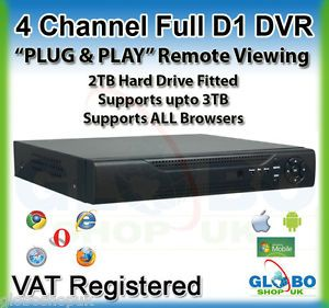 4 Channel 4CH Full D1 CCTV DVR Plug Play Remote Viewing 2TB HDD iPhone Android