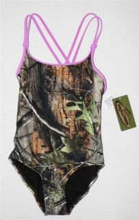 Realtree APG Youth Girls Camo Camouflage One Piece Swimsuit Purple Kids