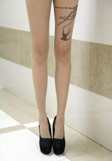 1XCHAIN Birds Transparent Tattoo Pantyhose Tights Leggings