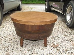 Vintage Nice Wooden Round Keg Table End Coffee Table