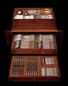 Henin Sterling Silver Flatware Set and Mahogany Storage Chest 126pcs 1890s