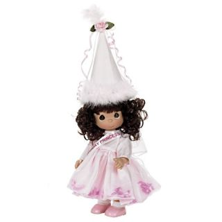"Precious Moments 12"" Happy Birthday Princess Pink Doll Brunette w Gift Box"