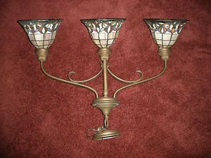 Large Tiffany Style Stained Glass Lamp Hanging Light 3 Glass Lamp Shades