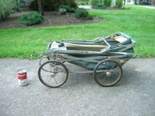 "Vintage Doll Buggy Baby Stroller Welsh ""Easy Fold"" Collapsible Blue Gray"