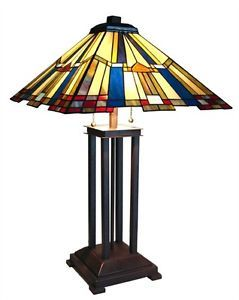 "Handcrafted Mission Styled Tiffany Style Stained Glass Table Lamp w 18"" Shade"