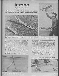 FF Glider Plan Tempo A 1 Towline Glider Model Airplane Plan 1960