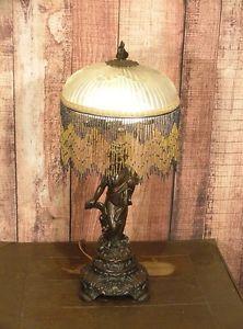 Antique Style Bronze Cherub Table Lamp Glass Fringe Light Shade