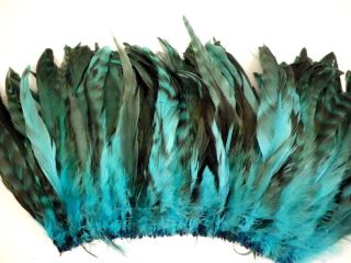 "15 Blue Aqua Chinchilla Grizzly Rooster Tails Millinery Feathers 5"" 7""L"