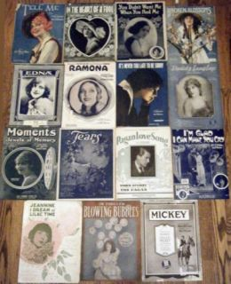 Silent Film Stars Lot of 15 Sheet Music Photoplay Actresses Actors Hollywood