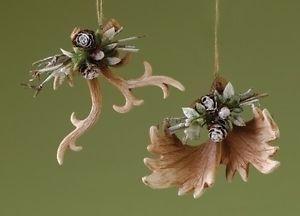 Moose Deer Antler Christmas Tree Ornaments Lodge Decor Set of 2 from Roman Inc