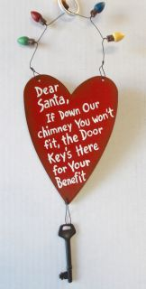 Santa's Key Door Hanger Red Heart Key Christmas Ornament Decor 13""