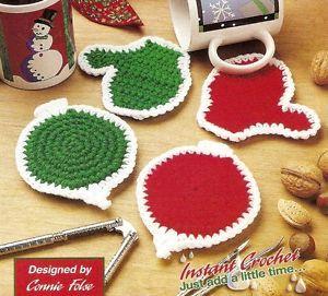 Cute Christmas Mitten Ornament Coasters Decor Crochet Pattern Instructions
