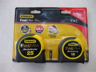 """Stanley 25' and 16' FatMax Tape Measure Blade Armor 1 1 4"""" 25ft and 16ft New"""
