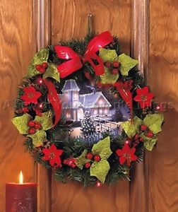 LED Lighted Wreath w Fiber Optic Wall Holiday Christmas Light Home Door Decor