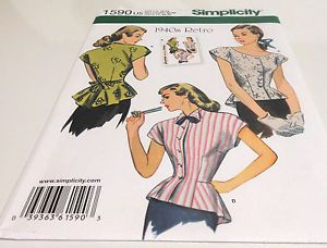 Simplicity 1590 Misses Retro 1940's Blouse Tops Sewing Pattern Sz 16 24