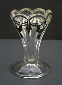Classic Antique Ice Cream Sundae Glass with Heavy Silver Decoration