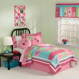 Children's Pink Ladybug and Flowers Girl Bedding Kids Twin Size Bedding Set
