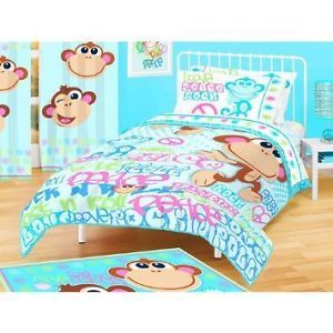 American Kids Bedding Love Peace Rock N' Roll Monkey Twin Comforter Bedspread